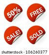 sales sticker tag with discounted percentage and other message - stock photo