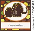 Sample Cards with two funny elephants - stock vector