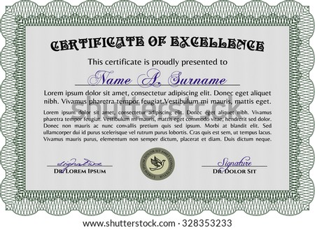 Sample Certificate Diploma Superior Design Background Stock Vector
