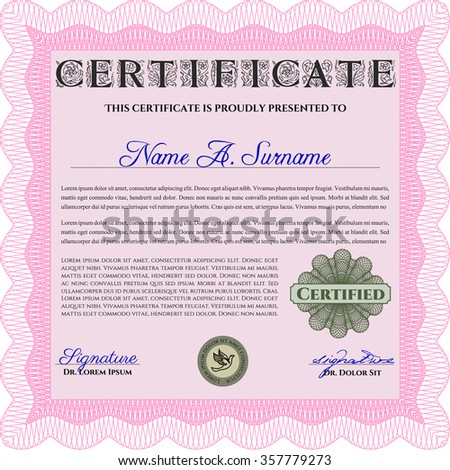pink sample certificate diploma elegant design stock vector  sample diploma artistry design complex background money style