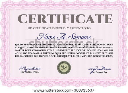 Pink Sample Certificate Diploma Complex Linear Stock Vector