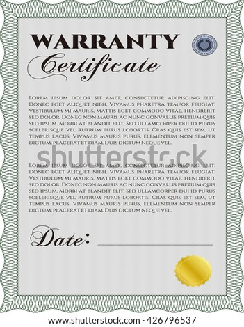 Sample Warranty Certificate Template Vector Illustration Stock