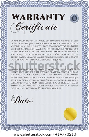 Sample Warranty Certificate Easy Print Complex Stock Vector