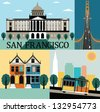 San francisco,California,USA. Vector - stock vector