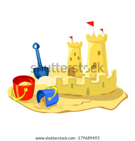 sand castle, beach toys isolated. vector illustration