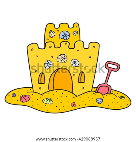 sand castle, vector illustration.  Cartoon