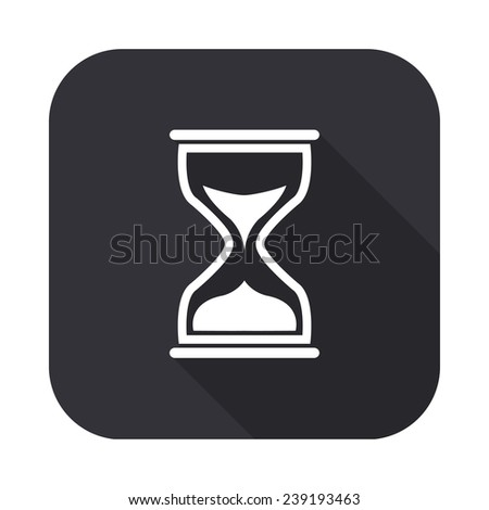 sand clock cursor icon - vector illustration with long shadow isolated on gray