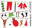 Santa Christmas clothesline with cute items - stock photo