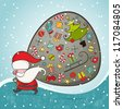Santa Claus and bag with gifts. Christmas Card. EPS 8 vector illustration. - stock vector