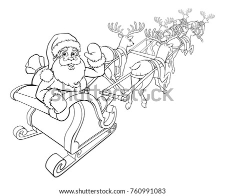 reindeer pulling sleigh coloring pages - photo#25