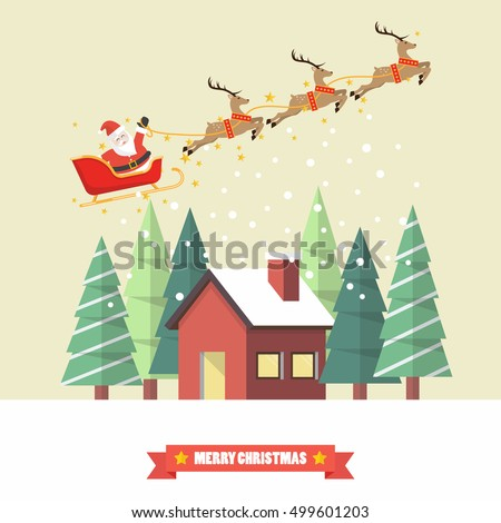 Santa Claus and his reindeer sleigh with winter house in flat style. Christmas card