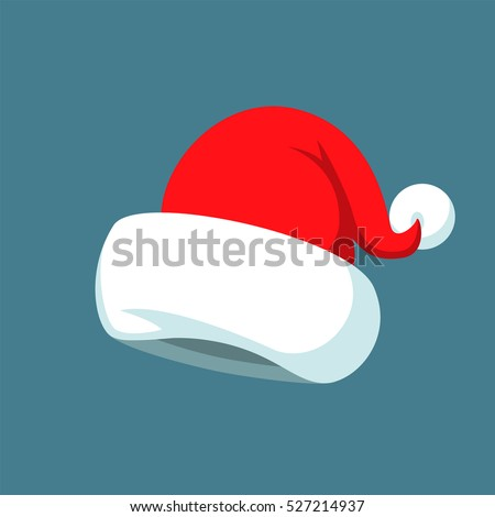 Santa Claus cartoon red hat silhouette in flat style isolated on blue background. Happy New Year 2016 symbol decoration template.Merry Christmas clothes holiday vector illustration elements for design