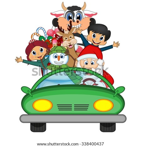 Santa Claus Driving a Green Car Along With Reindeer, Snowman And Brings Many Gifts Vector Illustration