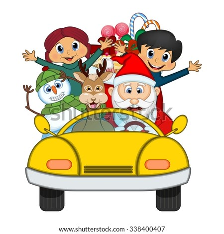 Santa Claus Driving a Yellow Car Along With Reindeer, Snowman And Brings Many Gifts Vector Illustration