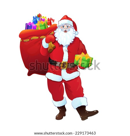 Santa Claus gift box sack full of christmas holiday present. Cartoon Vector Illustration isolated over white background