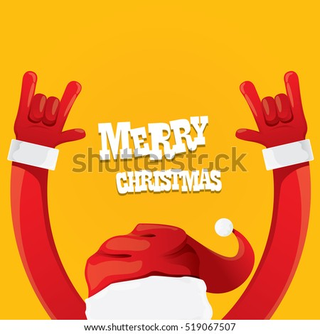 Santa Claus hand rock n roll gesture icon on orange background vector illustration. Christmas Rock n roll concert poster design template or greeting card design template. Rockstar concept
