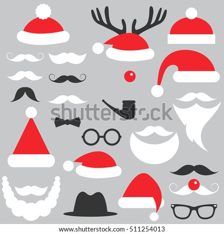 Santa Claus hats, beard and mustache set