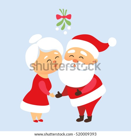 Santa Claus kiss his wife Mrs. Santa under the mistletoe. Romantic Christmas tradition. Cute family couple together. Mother and Father Christmas