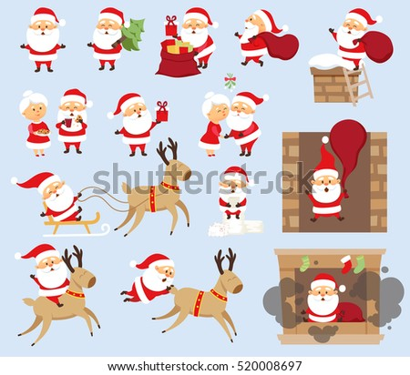 Santa Claus ride on reindeer, sleigh, run with bag, give gift box, fall down the chimney, hold Christmas tree, kiss his wife Mrs. Santa. Xmas character design set