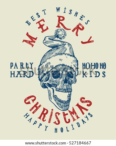 Santa Claus skull print. Tough Christmas t shirt design. Party hard winter holidays. Spooky Santa. dead head Christmas.