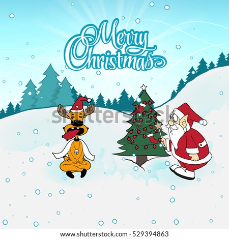 reindeer sticking out his tongue christmas card santa claus on sleigh reindeer snowy stock vector 8141