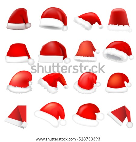Santa hat set. Vector