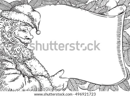 Santa letter. Vector Card with  Santa Claus and place for your text