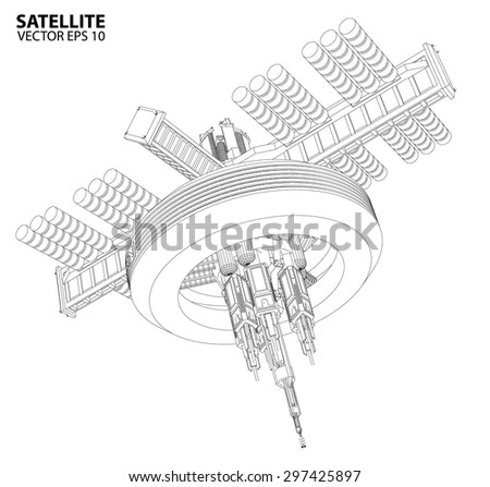 satellite communications wireframe vector stock vector