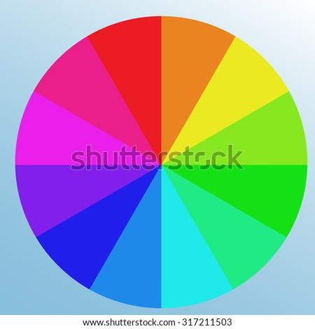 Saturated Bright Color Swatch Wheel Isolated Object On Light Blue Background