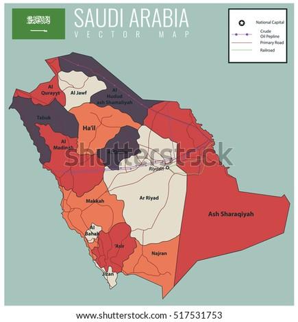 Saudi Arabia Map With Selectable Territories Vector Ilration