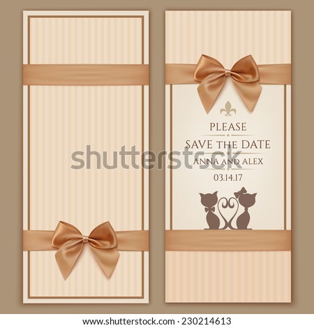 Vector illustration two cats isolated on stock vector for Save the cat template