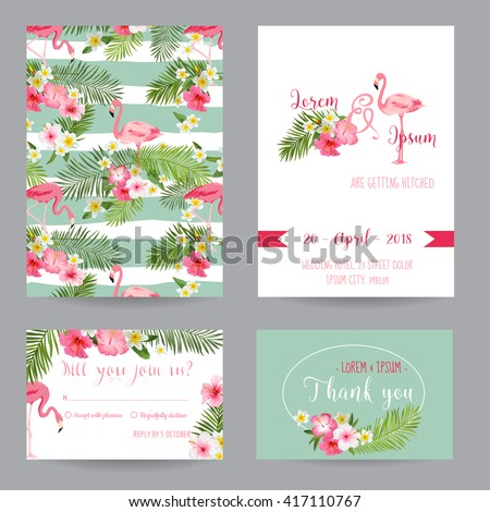 Save the Date. Wedding Invitation or Congratulation Card Set. Tropical Flamingo Theme, in vector
