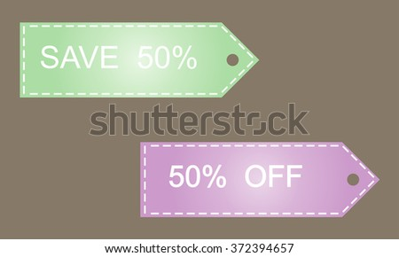 Save 50. Vector image in green and lilac