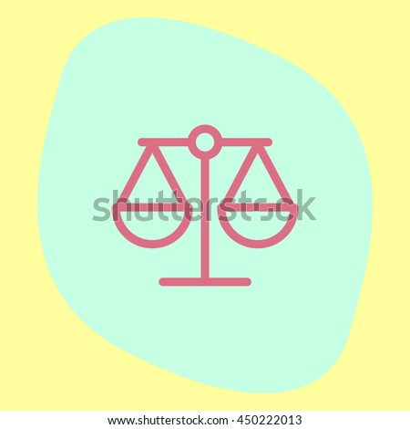 Scales line vector icon. Justice symbol sign. Balance pictograph.
