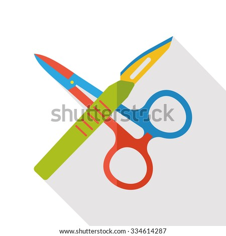 Scalpels and scissors flat icon