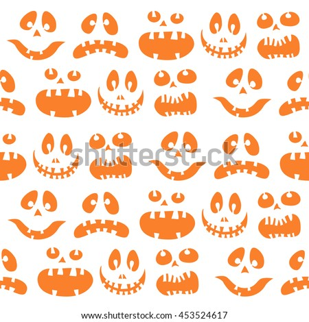 Scary Halloween  seamless bright kids doodle pattern. The day of the Dead, Pumpkin face