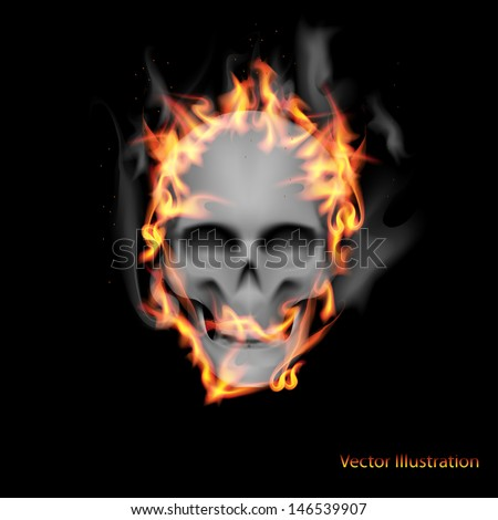 Scary skull on fire.