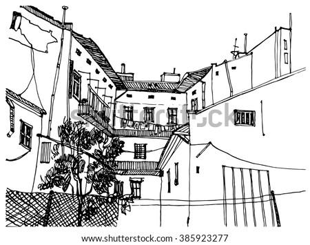 City Street Sketchbook Vector Stock Vector 171260501