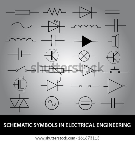 schematic symbols electrical engineering icon set stock vector schematic symbols in electrical engineering icon set eps10