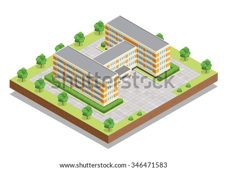 School building. Flat 3d isometric vector illustration For infographics and design. A school is an institution designed to provide learning spaces, learning environments for the teaching of students