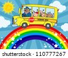 School Bus With Happy Children Around Rainbow - stock vector
