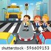 school children crossing street ...