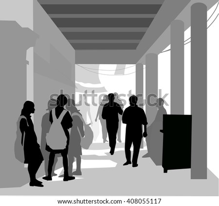 School Children & Street Footpath - Vector