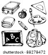 School drawings collection 1 - vector illustration. - stock photo