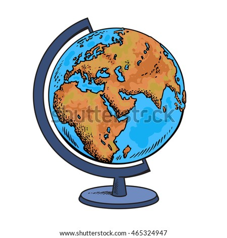 School globe. Model of Earth.Geography icon. Hand drawn vector illustration in sketch style.