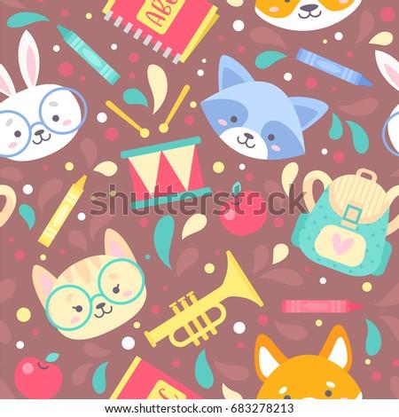 Back school seamless pattern on blackboard stock vector for Childrens material