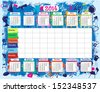 School timetable and calendar - stock vector
