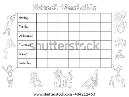School Timetable Weekly Planner Organizer Students Stock Vector  Shutterstock