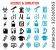 Science and education flat icons set with college, book, laboratory glasses, computer, microscope, globe, graduation cap, pencil, compasses, dna, atom, biohazard, electricity, oxygen - stock vector