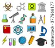 Science and education icons with college and book, laboratory glasses and computer, microscope and globe, graduation cap and pencil, compasses and dna, atom and biohazard sign, electricity and oxygen - stock vector